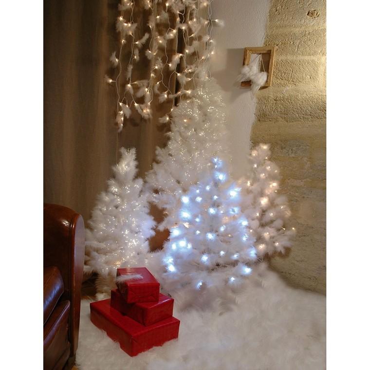 Sapin de Noël artificiel à plumes blanches lumineux 150 cm 638460