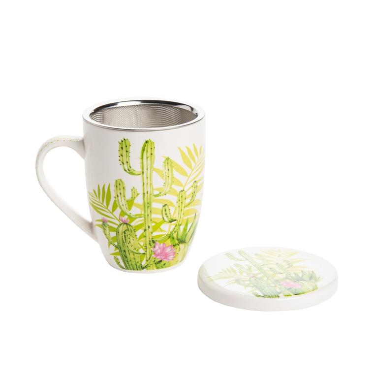Tasse à thé Cactus avec infuseur et couvercle – 9X10 cm 640672