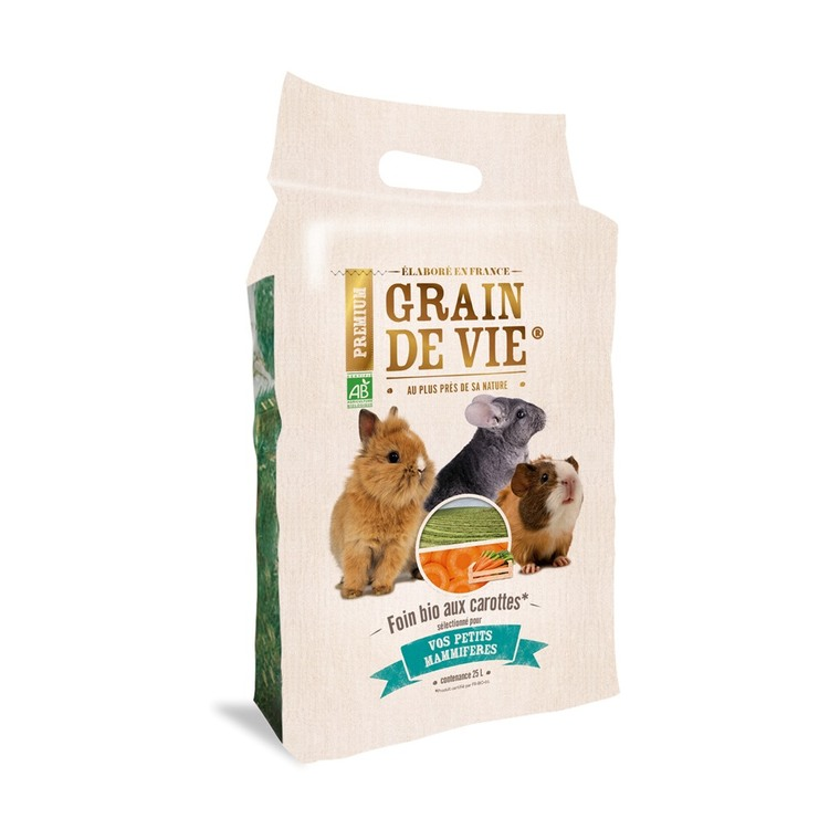 Foin bio aux carottes petits mammifères Grain de vie® - 25L 652148