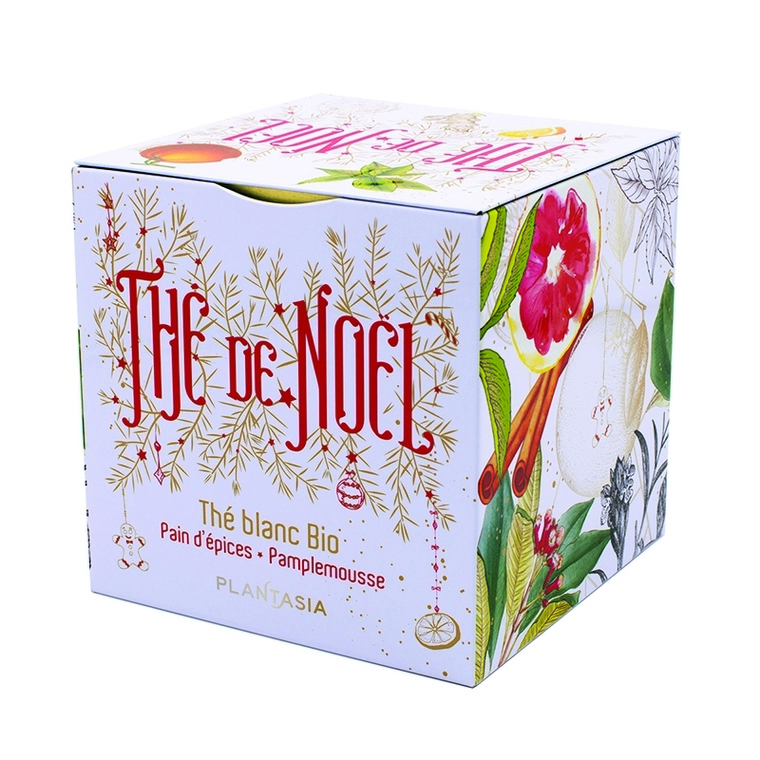 Thé de Noël bio Pain d'épices et pamplemousse en boîte cube métal 48 g 653017