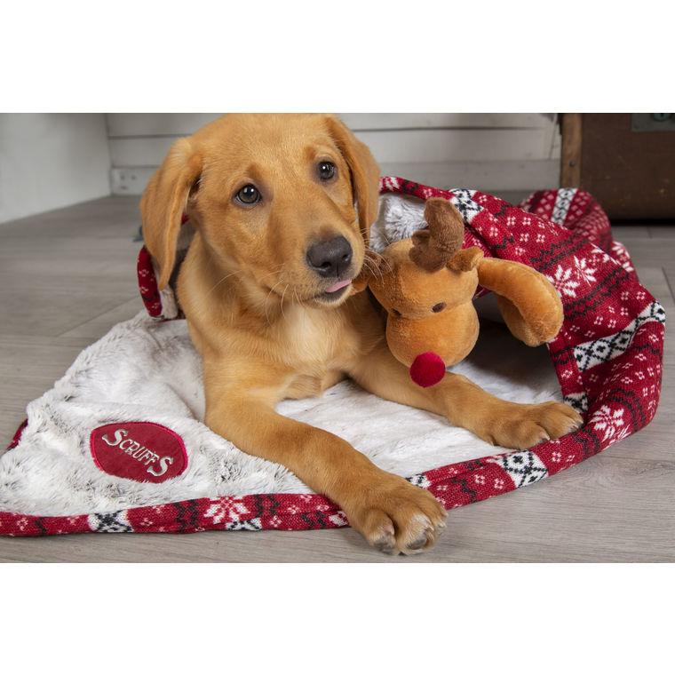 Plaid de Noël Scruffs rouge avec jouet - 100 x 72 cm 658357
