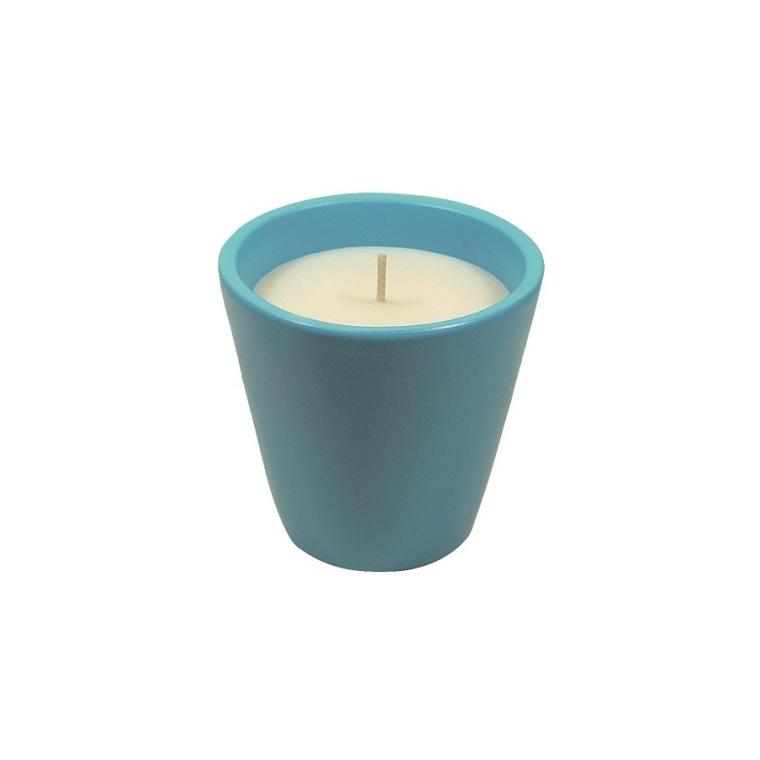Bougie à la citronnelle dans bol terre cuite bleu pastel Mykonos 80X82 659220