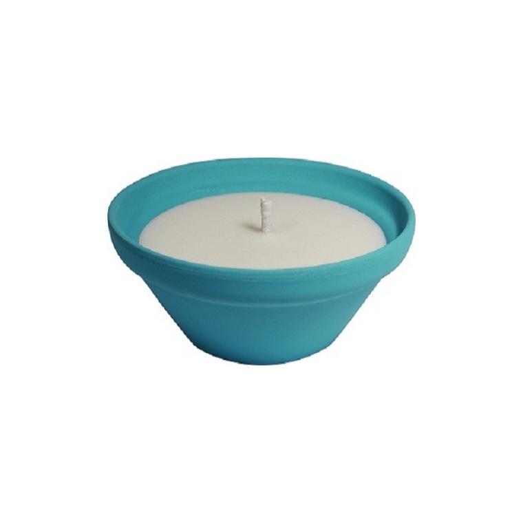 Bougie à la citronnelle dans bol terre cuite bleu pastel Mykonos 55X120 659227