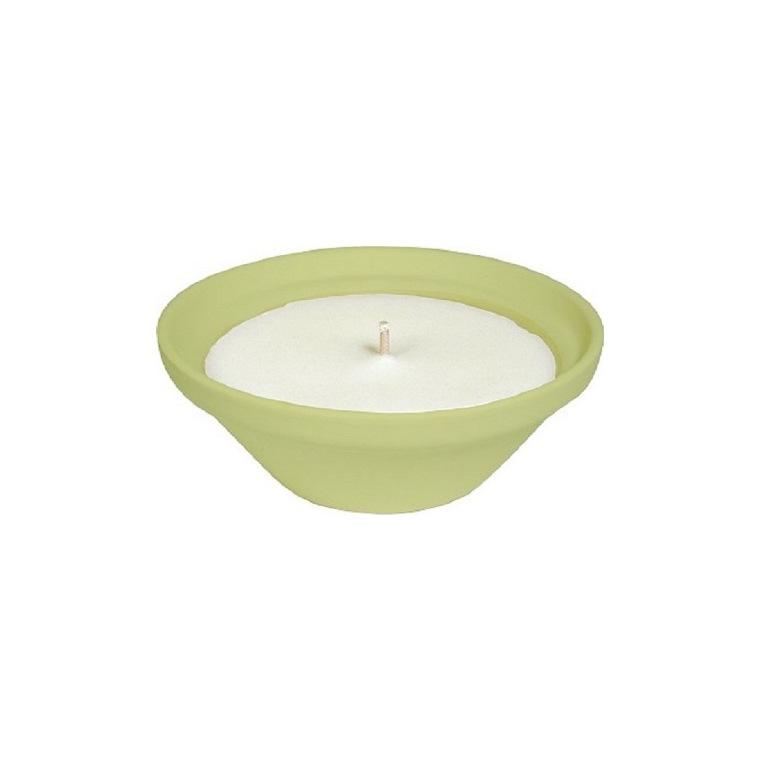 Bougie à la citronnelle dans bol terre cuite vert PANTONE 13-053 Amazon 70X155 659230