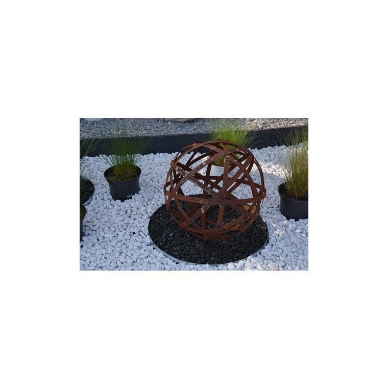 Sphère ajourée en métal effet rouille coloris marron Ø 40 cm 659291