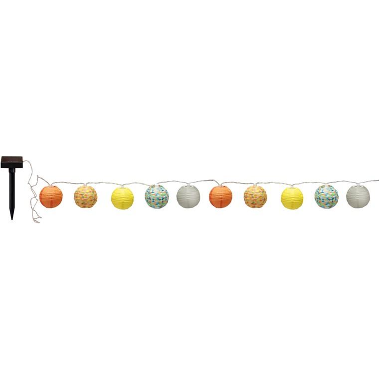 Guirlande solaire Polka de 10 lampions multicolores à LED blanc 135 cm 659610