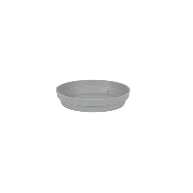 Soucoupe Toscane en polypropylène coloris gris béton Ø 15 x 3 cm 659730
