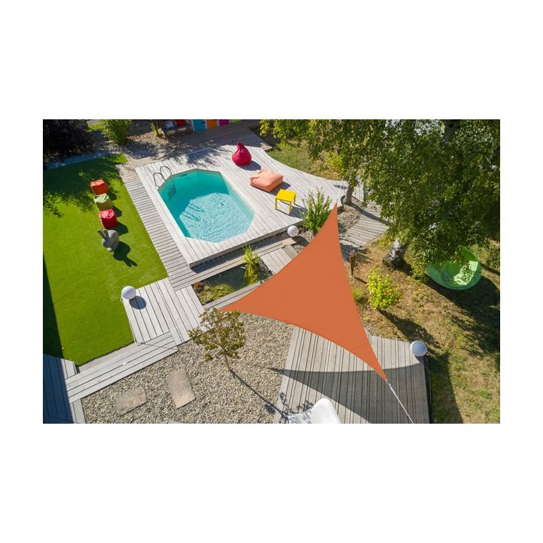 Voile ombrage camel 5 m triangulaire extensible 660065