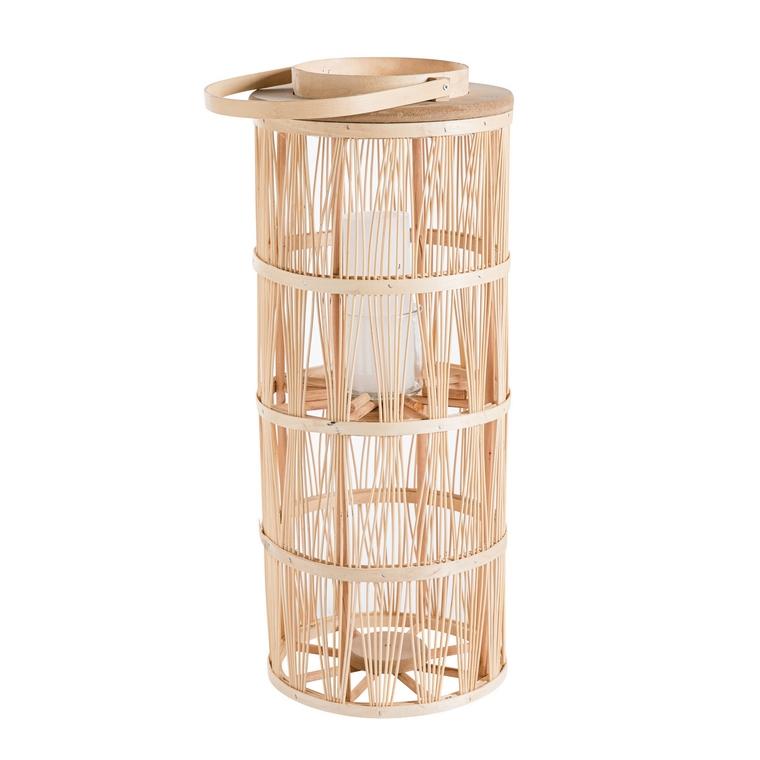 Lanterne en rotin avec verre Ø 22 cm x 51 cm 660379