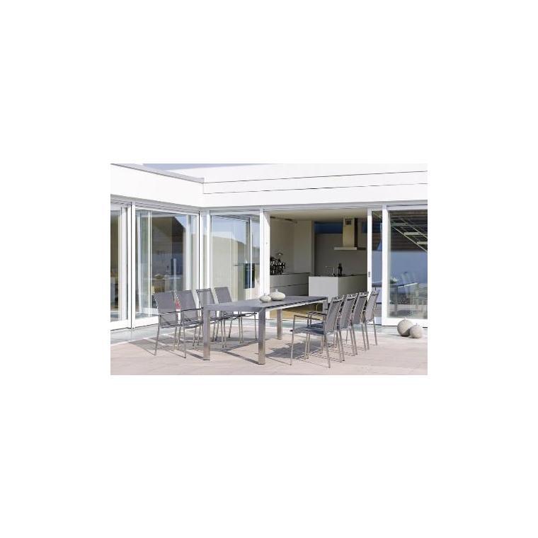 Table extensible Stern inox & HPL coloris smoky 174/214/254 x 90 cm 660802