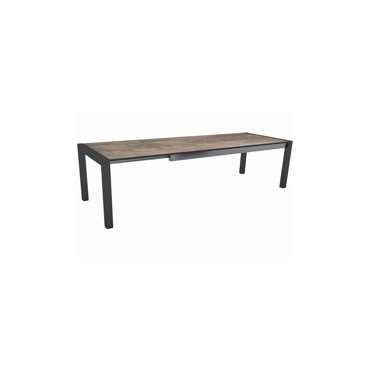 Table extensible Stern alu anthracite & HPL ferro 174/214/254 x 90 cm 660805