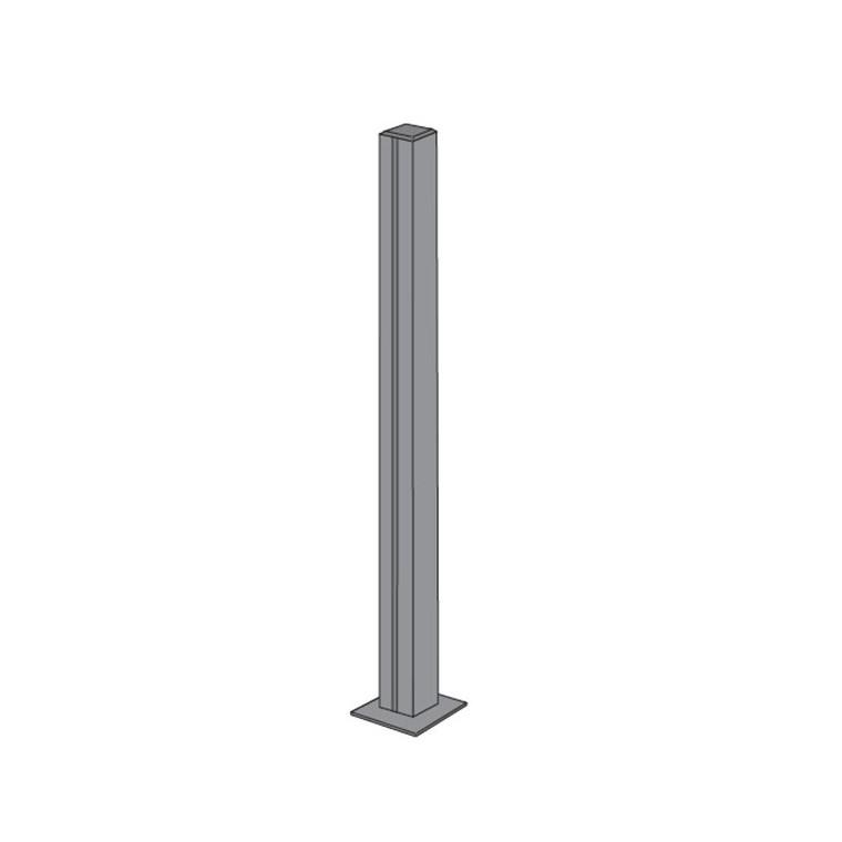 Poteau à 3 encoches pour panneau de verre en Aluminium 50x50x108 cm 661416