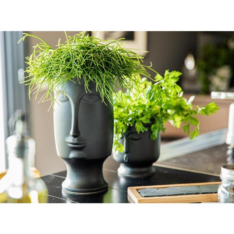 Vase en céramique avec visage moulé noir GM 16,5x15,5x28 cm 661735