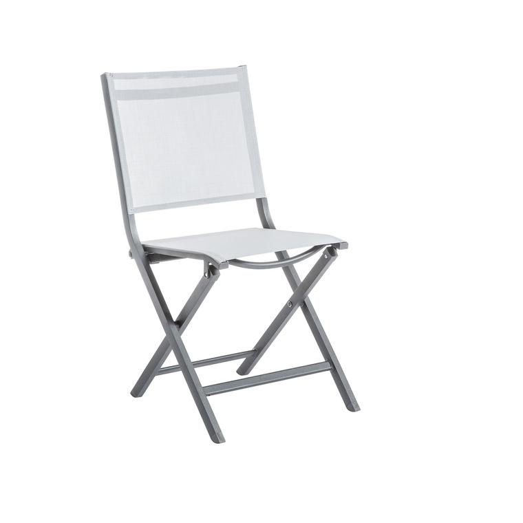 Chaise pliante Max en aluminium perle 90 x 45 x 52 cm 661793
