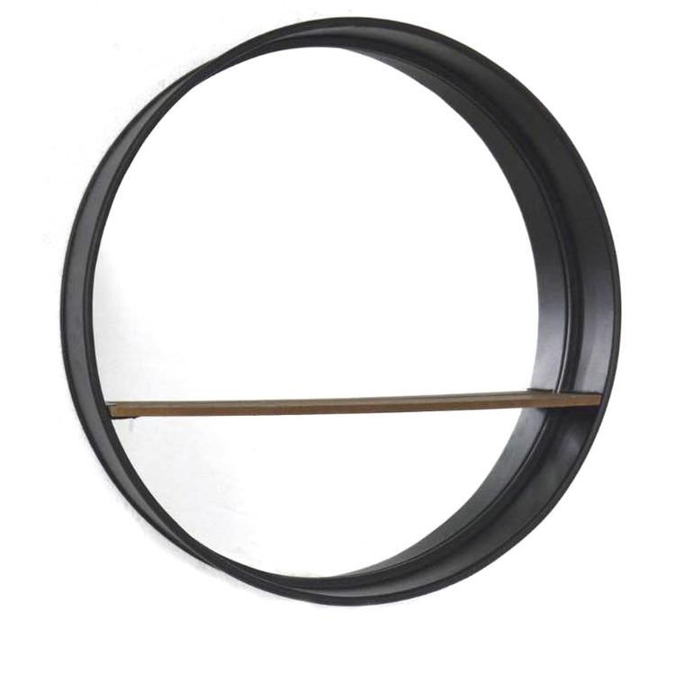 Miroir avec étagère MDF/métal Ø60x11 cm 661884