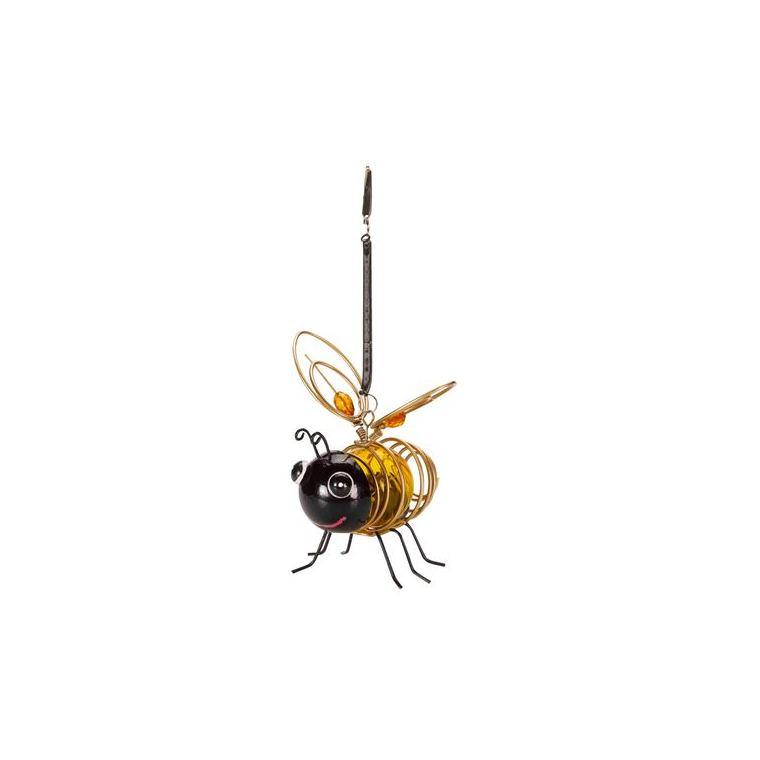 Abeille solaire jaune à suspendre Bee à LED blanc chaud 10x12,5x14 cm 662094