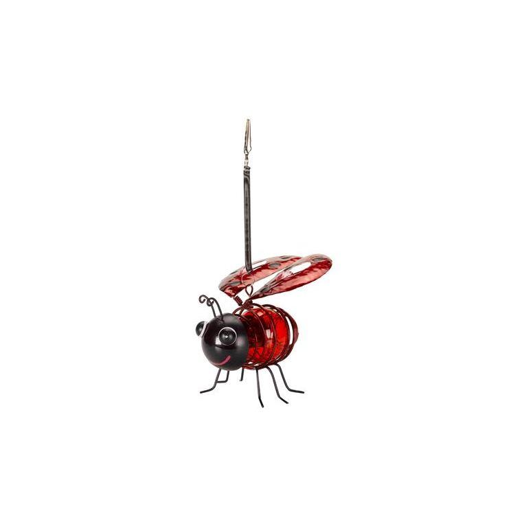 Coccinelle solaire rouge à suspendre Ladybird à LED blanc chaud 12x12,5x11,5 cm 662095