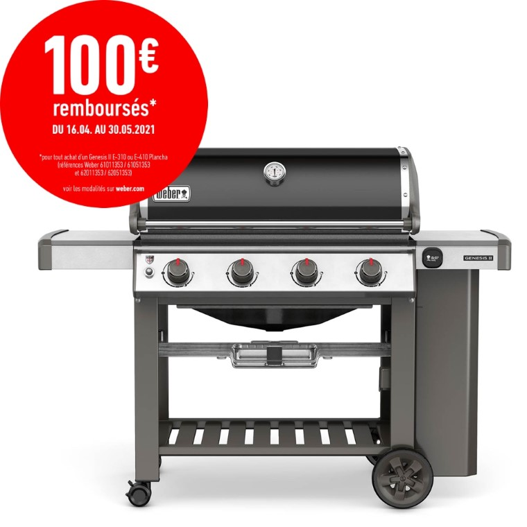 Barbecue à gaz Genesis II E-410 avec plancha coloris noir 662227