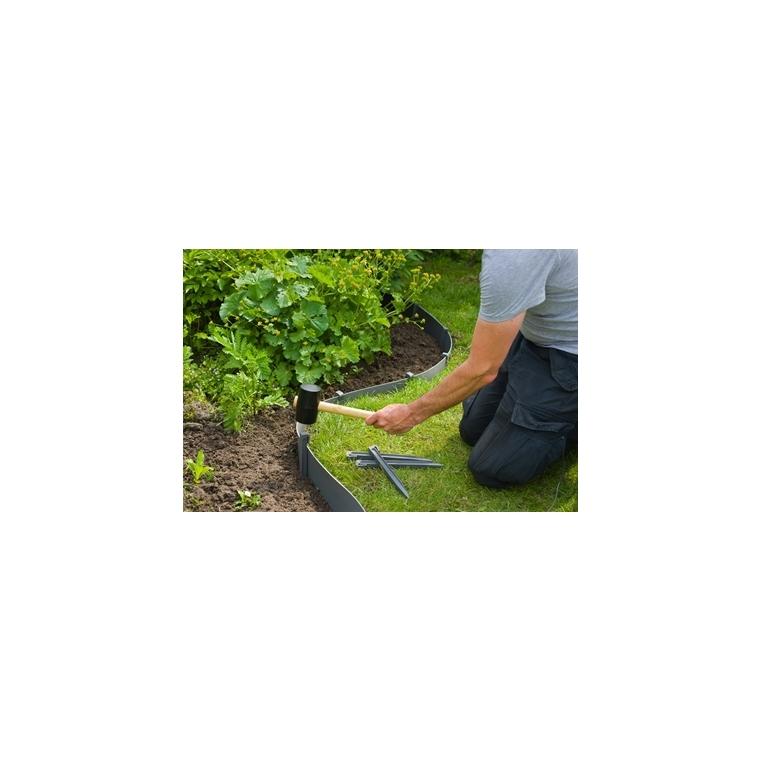 Ancres bordure de jardin x10 PP recyclé Gris 1,9x1,8x19,5 cm 662231