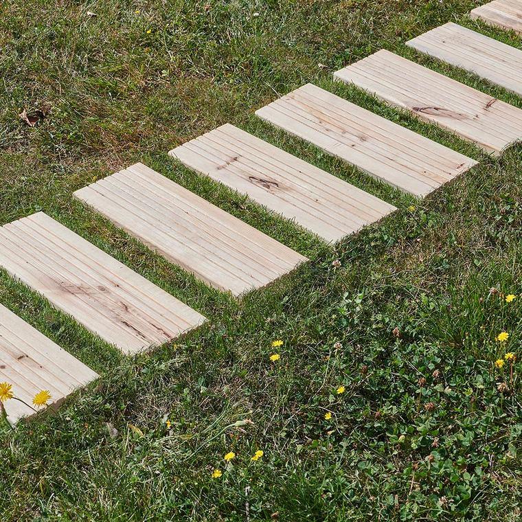 Chemin de jardin géotextile Pin séché Bois 200x45x0,28 cm 662236