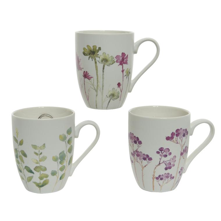 Mug en porcelaine blanche à fleurs 3 modèles assortis 8x11x10,5 cm 662388