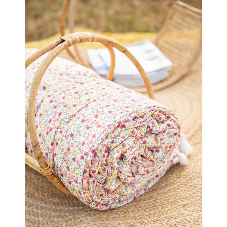 Plaid en coton matelassé motif fleurs Liberty multicolore 100x200x2 cm 662461