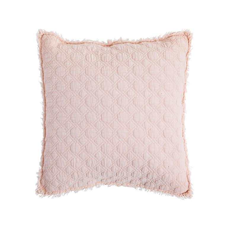 Coussin en coton matelassé rose 45x45 cm 662471