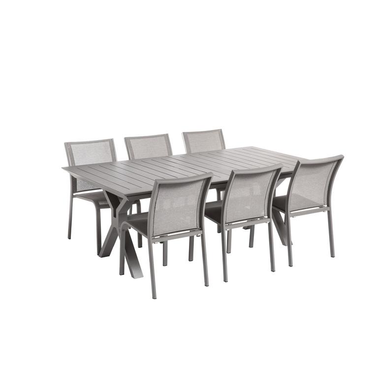 Table extensible Filao en aluminium coloris beige 200/300 x 110 cm 662572