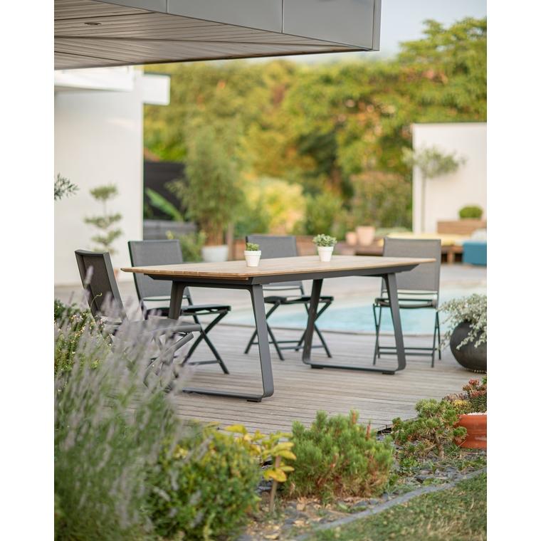 Table rectangulaire Ora en aluminium noir et teck coloris naturel 662575