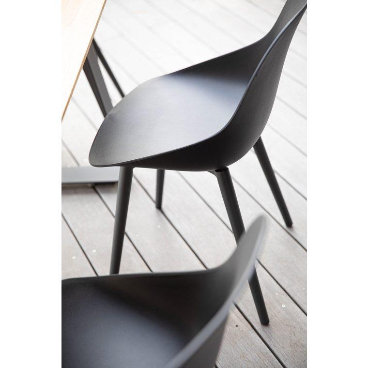 Chaise coque coloris noir en aluminium et polypropylène 57 x 49 x 82,5 cm 662576