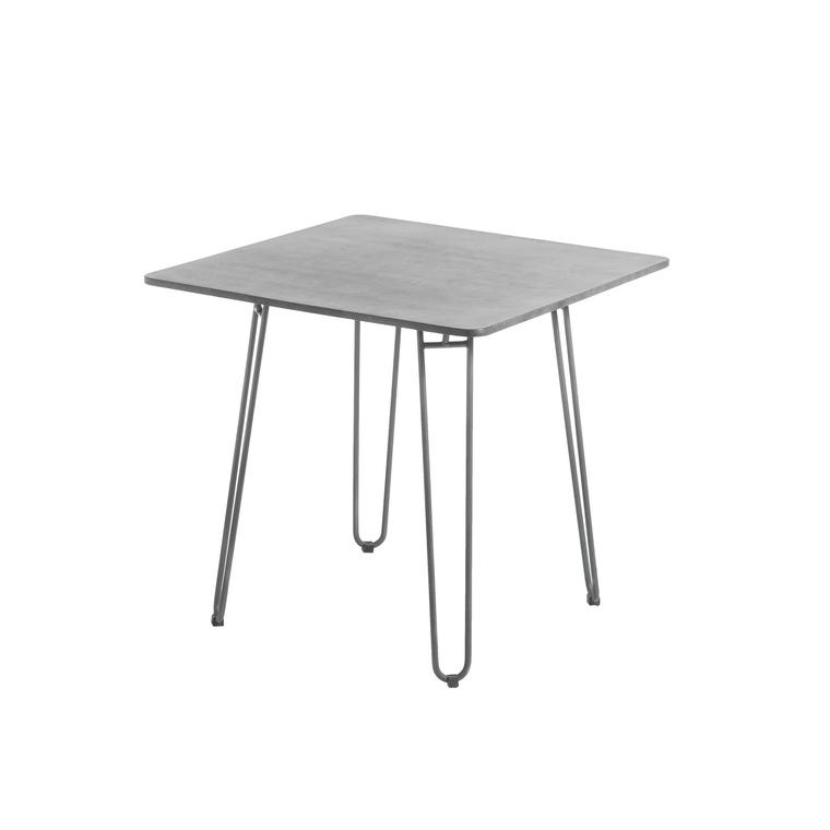 Table balcon carrée Padro gris clair acier & fibre ciment 80 x 80 x 75 cm 662581