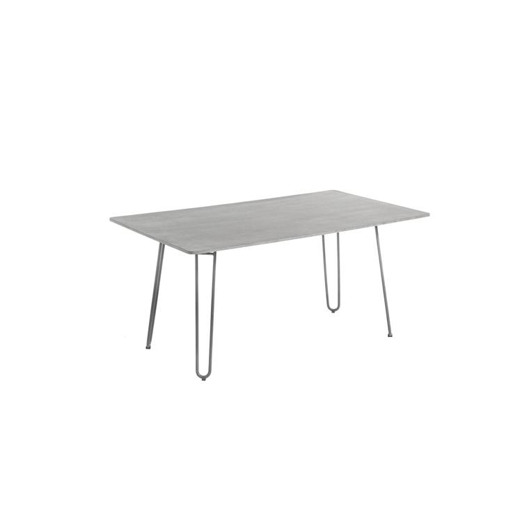 Table rectangulaire Padro gris clair acier & fibre ciment 160 x 90 x75 cm 662582
