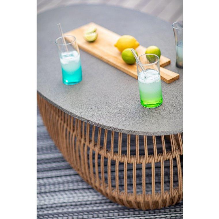 Table basse ovale beige et grise en aluminium, résine et fibre-ciment 120cm 662588