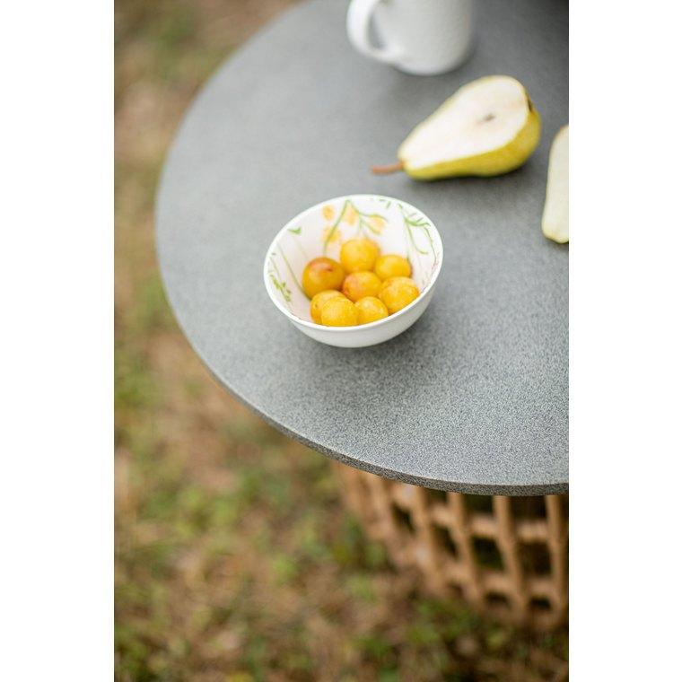 Table basse ronde beige et grise en aluminium, résine et fibre-ciment Ø 55 cm 662589