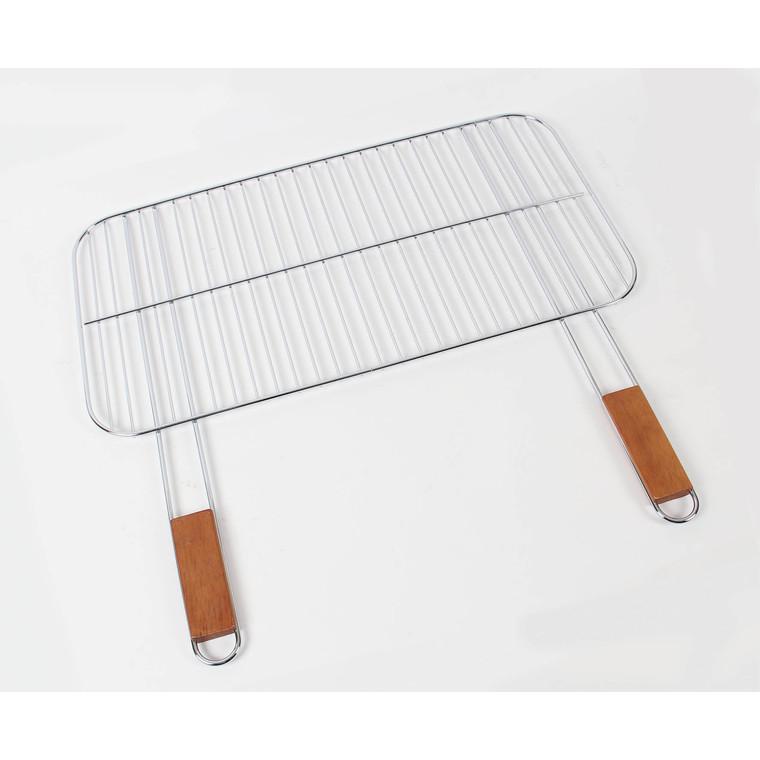 Grille simple Somagic en acier chromé avec manche en bambou 60 x 40 cm 662718