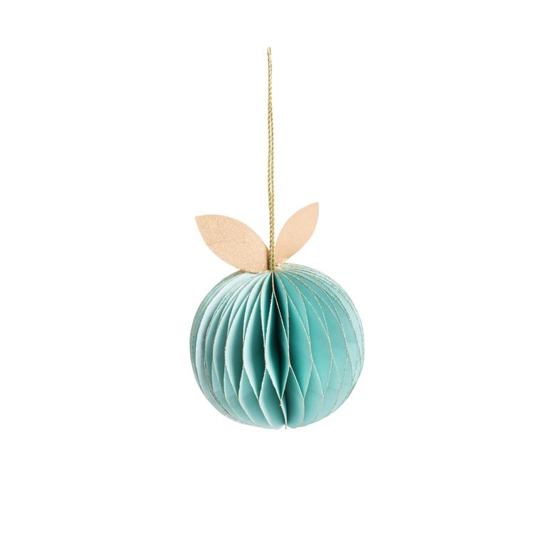 Pomme en papier à suspendre coloris vert H 11,5 cm 663246