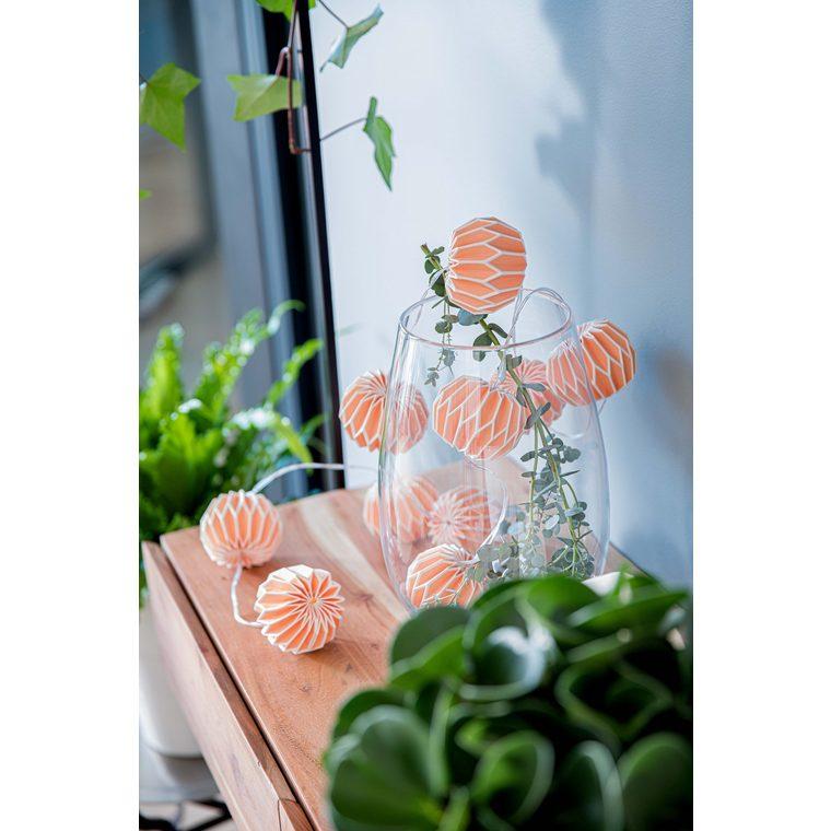 Guirlande de 10 boules de papier origami Orange corail 2,5 m 663249