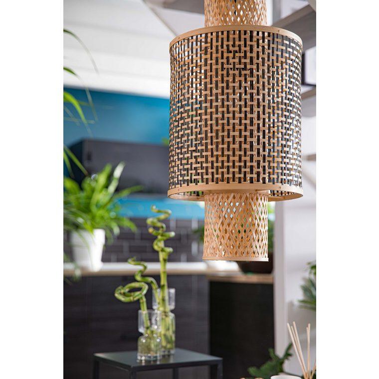 Lampe double abat-jour noir et blanc en bambou 30x41 cm 665528