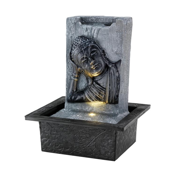 Fontaine LED visage bouddha gris en polyrésine 18 x 21 x 27 cm 665777