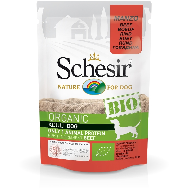 Alimentation humide bio pour chien adulte Schesir saveur bœuf 85 g 672769