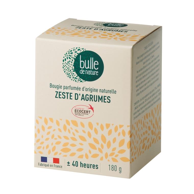 Bougie parfumée Zeste d'agrumes 180g bulle de nature 674853