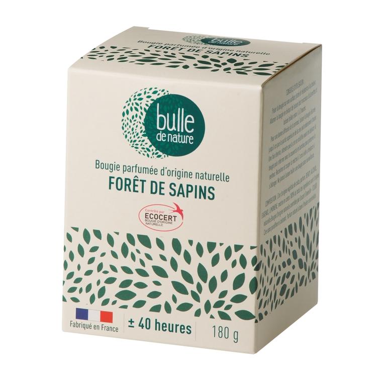 Bougie parfumée Forêt de sapins 180g bulle de nature 674857
