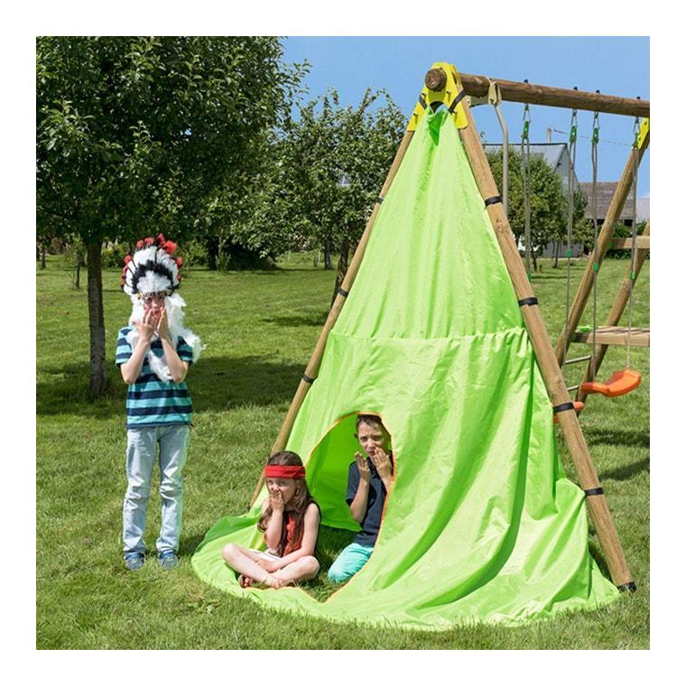 Tipi en toile coloris vert pour portique en bois 677160