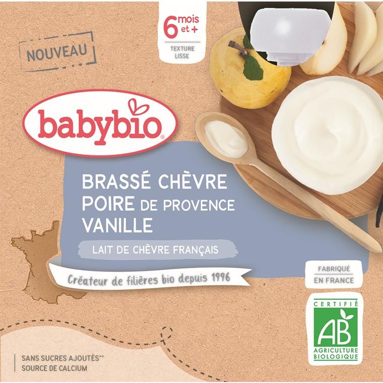 Gourdes Brassé Chèvre Poire Vanille dès 6 mois - 4x85 gr 677287