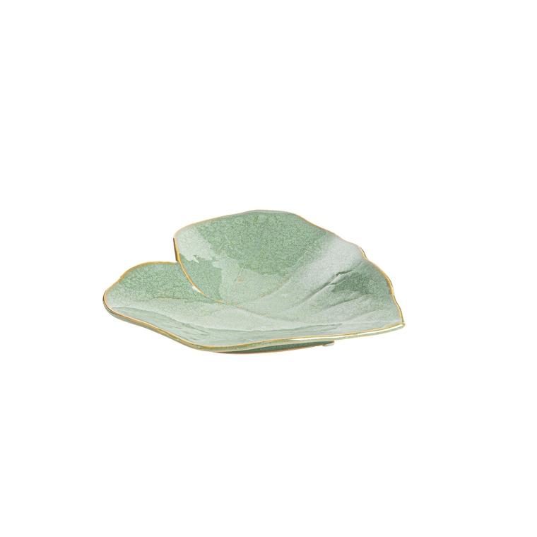 Plateau déco vert en grès sous forme de feuille grand modèle 679450
