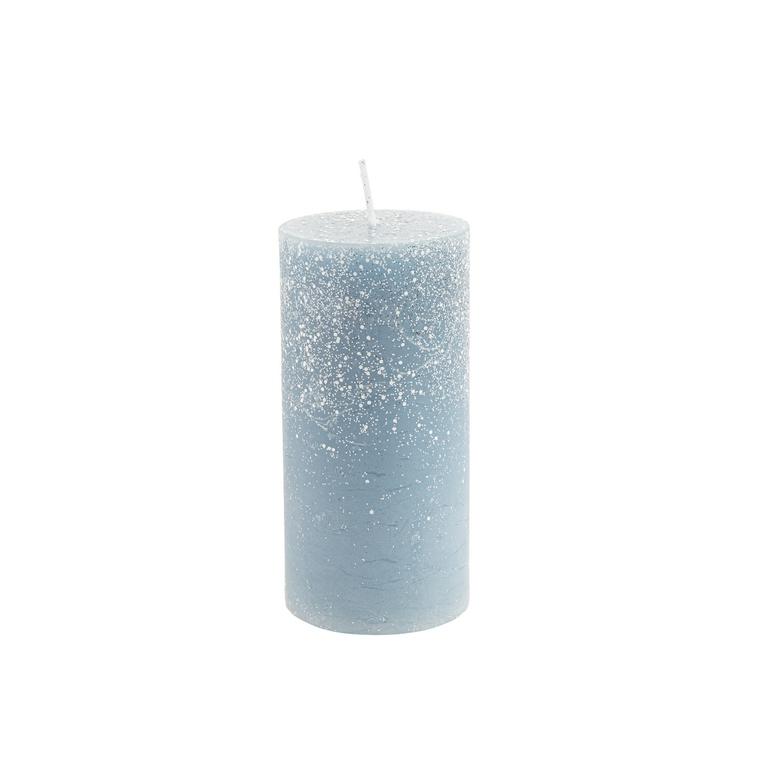 Bougie cylindrique bleu nuit avec effet givré Ø 5,6 x 12 cm 679528