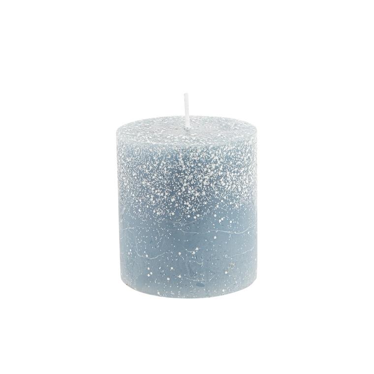 Bougie cylindrique bleu nuit avec effet givré Ø 6,8 x 7,5 cm 679529