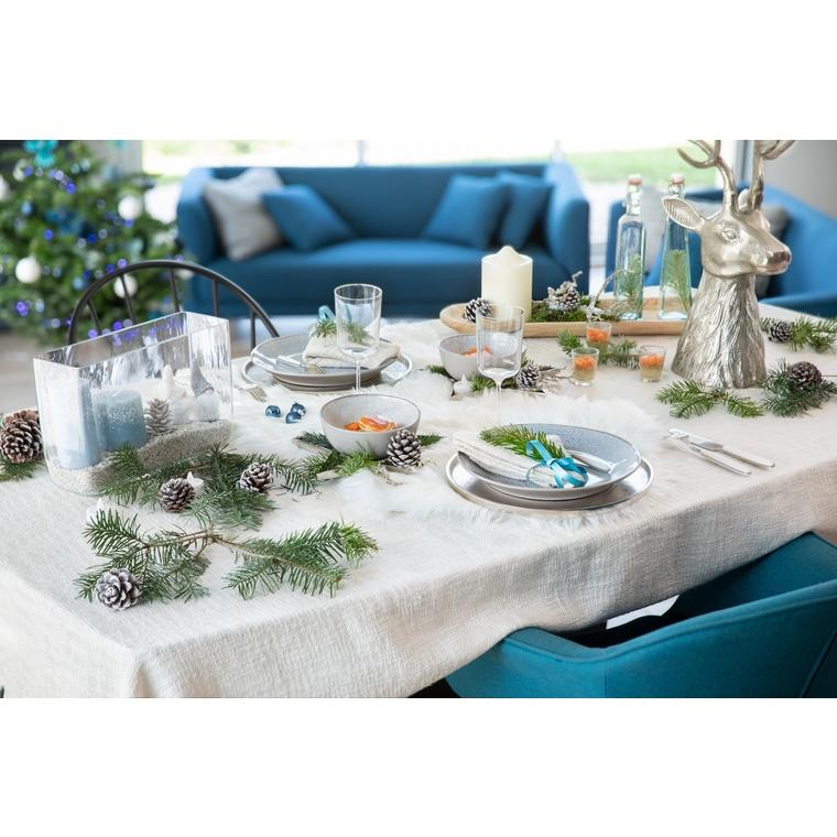 Assiette plate en grès coloris taupe Ø 26 x 3 cm 679540
