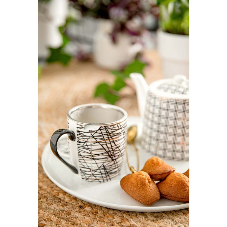 Coffret tasse à thé graphik noir et blanc en porcelaine 13 x 9 x 10 cm 680748