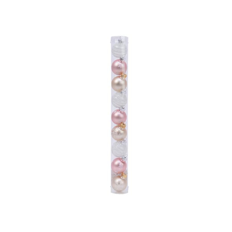 Boîte Boules Verre Déco Mix Rose Ø3 cm 680888